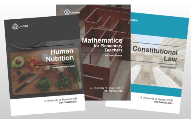 Three OER book covers
