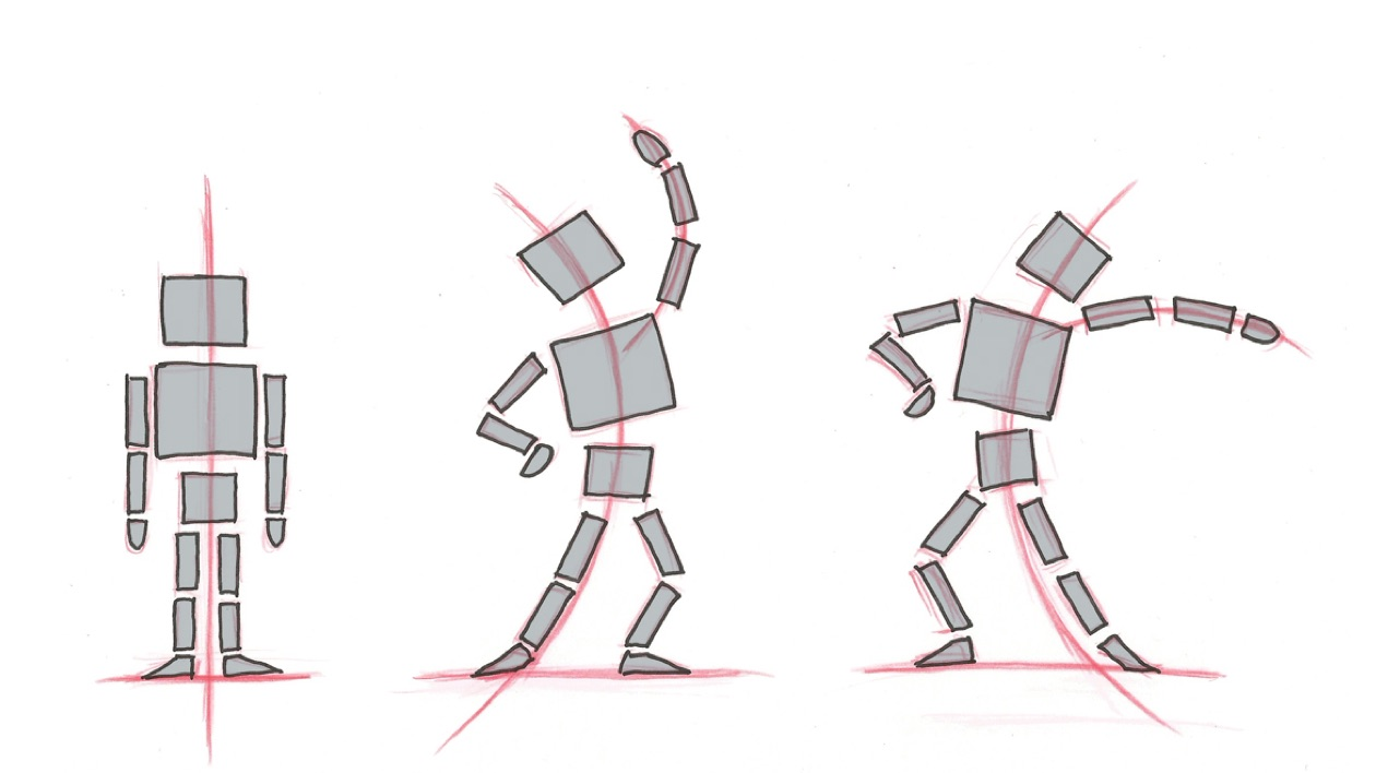 Gessture lines of an animated figure