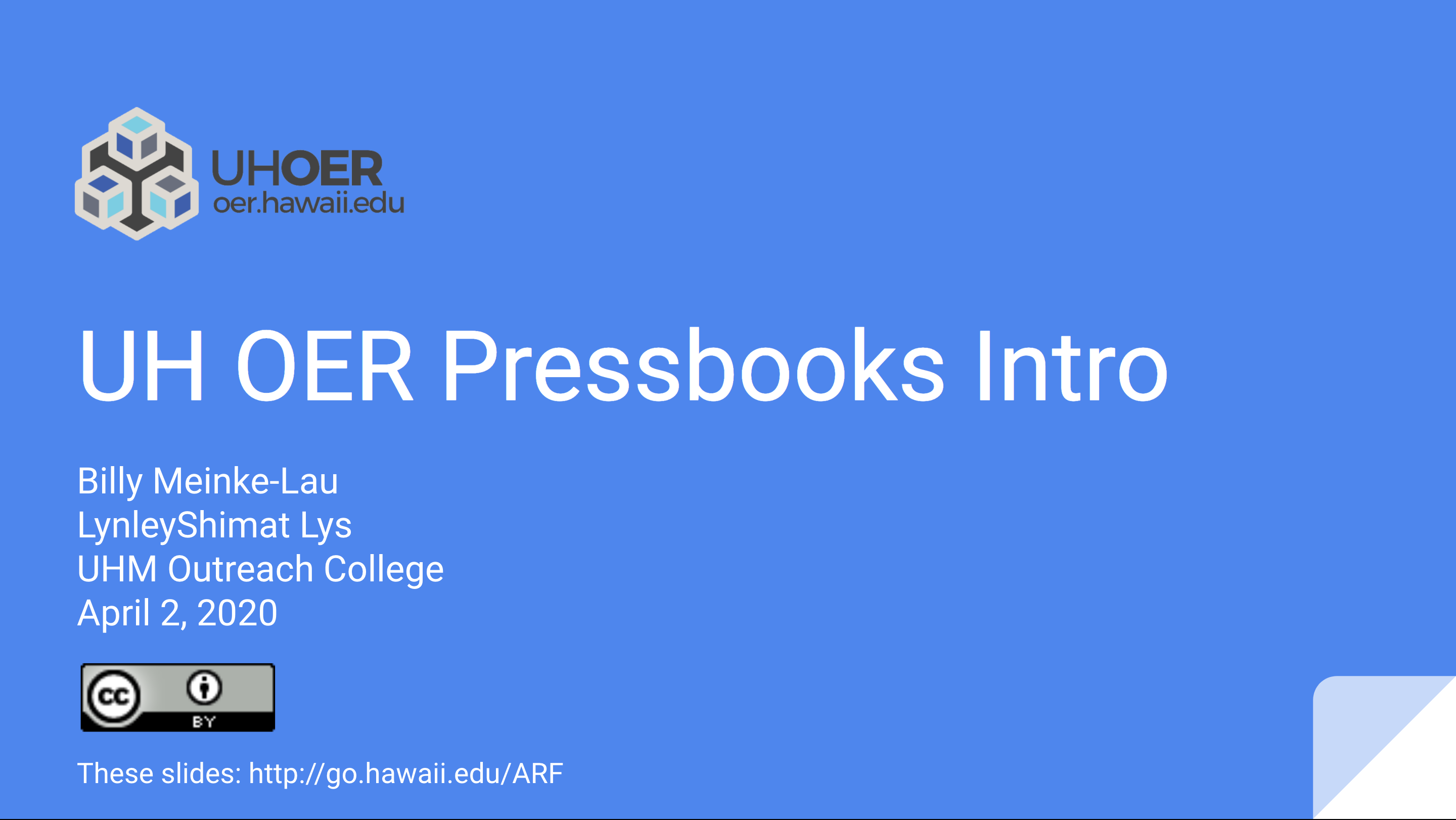 Screenshot of UH OER Pressbooks Intro presentation slides
